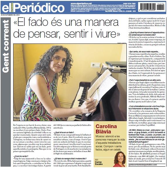 Carolina Blavia El Periódico de Catalunya 23 de setembre de 2014 La contra: gent corrent per Carme Escales.